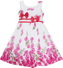 Girls Dress Rose Flower Double Bow Tie Party Birthday Summer Camp Age 4-12 Years