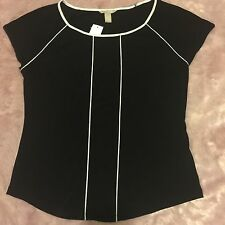 Banana Republic Size L Black White piping scoop neck top S/S NWTs