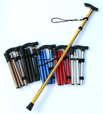 Aluminum Metal Adjustable Walking Stick Folding Travel Cane