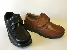 Mens Comfort Fit Lightweight Touch Close Fastening Casual Shoe Black/Tan 7-12