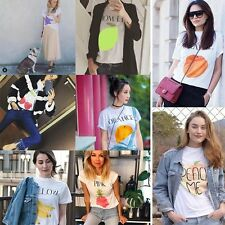 Funny Women Cute Fruit Print Letter Summer T-shirt Short Sleeve Casual Blouse