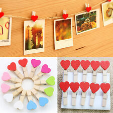 10x Mini Love Heart Wooden Pegs Photo Memo Clips Holder Wedding Room Decor Craft