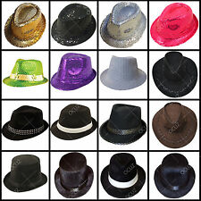 Mens Adults Black Cowboy Gangster Lincoln Velour Sequin Trilby Bowler Hats »
