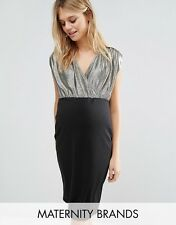 -% NEW LOOK MATERNITY 2 In 1 Sparkle Wrap Dress UK 8 10 12 RRP £22.99