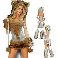 Women Sexy Brown/Silver Wolf Costume Wild Girl Furry Big Tail Halloween Cosplay