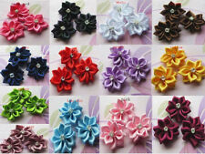 20pcs-100pcs Satin Ribbon Flower with Crystal Bead Appliques~Craft/Trim