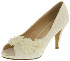 Womens Ivory Bridal High Heels Lace Satin Wedding Diamante Court Shoes Sz Size 3