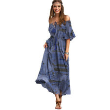 Summer New Arrival Vintage Womens Half Sleeve Off The Shoulder Maxi Dress