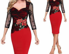 Women Vintage Floral Red Lace Party  Dress Elegant Slim Three Quarter Clothing