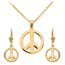 14k Yellow Gold Open Boho Peace Symbol Pendant Necklace & Matching Earrings