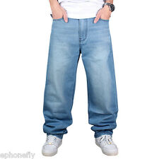 Mens Stylish Jeans Hip Hop Loose Fit Denim Baggy Straight Casual Cargo Pants