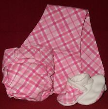 4 Piece Baby Layette Set Fitted Diaper, Infant Bib, Burp Cloth, Slipper in Pink