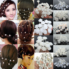 20/40pcs Rose Flower Crystal Wedding Party Bridal Prom Star Hair Pin Clips