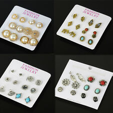 6 pairs Women Pearl Crystal Rhinestone Stud Earrings Silver Gold Plated Set Prom