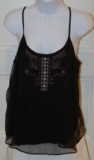 AMERICAN EAGLE OUTFITTERS Women's Black Beaded Sheer Tank Top Blouse Sz S