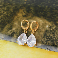 Vintage womens jewelry lucky hoop earrings Teardrop crystal Gold filled  earings