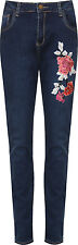 Plus Womens Denim Skinny Leg Jeans Ladies Floral Rose Embroidered Pocket Button