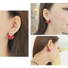 Womens Fashion Unique Earrings Rose Flower Crystal Gold filled  Stud Earring