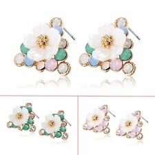 Womens Retro Rainbow CZ Flower Stud earrings Triangle yellow Gold filled
