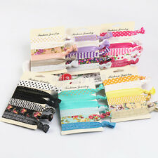 6x Girl Floral Elastic Hair Tie Band Knotted Hairband Ponytail Holder Headband c