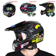 S-XL Outdoor Motorcycle Buy DOT Full Face Protector Helmets+Goggles+Gloves SP92