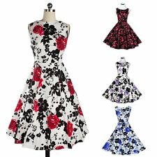 Hepburn Style 50 60s Housewife Pinup Vintage Rockabilly Swing Floral Party Dress