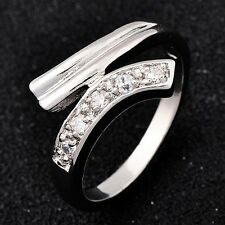 Womens clear crystal wedding Rings white Gold filled  ring lot Size 5 6 7 8