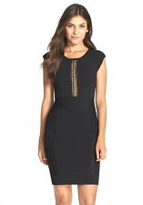 NWT $188 French Connection Cruz Danni Lace Inset Bodycon Dress Black 0 2