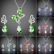 Women Crystal Butterfly Cubic Zirconia Necklace Stud Earrings Jewelry Set Clever