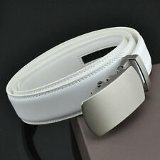 Fashion White&Black Mens Belt Genuine Leather Automatic Buckle Waistband Strap