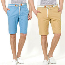 Mens Shorts Bottoms Knee Length Straight Pants Cotton Casual Summer New