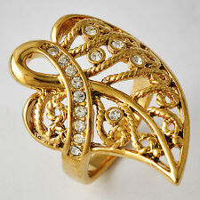 Fashion Womens yellow Gold filled Crystal Leaf Shape cocktail Band Ring Size 6-9