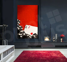 Poker Pocket Aces with Black Chips on Red Felt Canvas Art Poster Print
