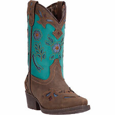 Laredo Childrens Girls Brown Little Kate Faux Leather Cowboy Boots