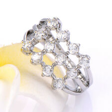 womens 9k GF crystal white Gold plated rings clear cz size 5/7.5