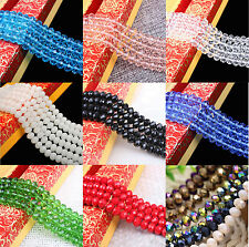 "16-22""Strand Faceted Rondelle Glass Crystal Loose Spacer Bead Finding 4/6/8/10MM"
