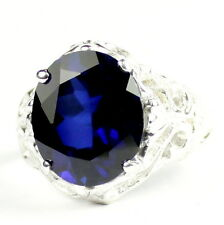 Created Blue Sapphire, 925 Sterling Silver Ring, SR114-Handmade