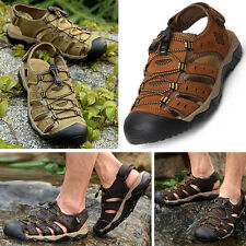 US 7-11 Mens Closed Toe 100% Leather Sandals beach field Adjustable Water Shoes