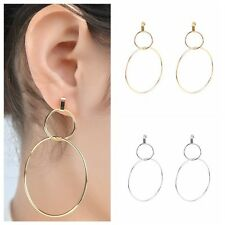 1Pair Double Round Gold-plated Hoop Earrings Fashion Dangle Ear Stud Jewelry