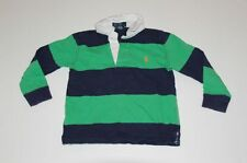 POLO RALPH LAUREN Boys Green & Navy Blue Cotton L/S 3-Button Rugby Shirt Sz 4