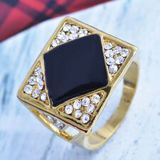 Womens Gold plated Rhinestone Crystal Mens Ring fashion jewelry free shipping