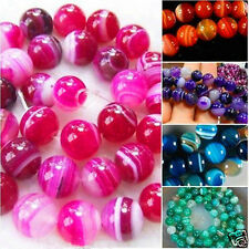 """6mm 8mm 10mm Natural Color Stripe Agate Onyx Gems Round Loose Beads 15"""""""