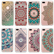 1Pcs Silicone Colorful Mandala Hot Clear Henna Cover Floral For iPhone Case Soft