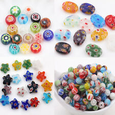 20Pc Mixed Oval Star Millefiori Glass Bead Flat Round Loose Spacer Bead  Finding