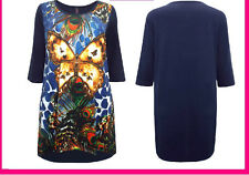 New BUTTERFLY Navy Dip Hem Long Tunic Top PLUS SIZE Curve 14-28 LOOK be yours