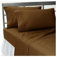 1200TC 100%Egyptian Cotton Complete Bedding Items US Sizes Color Chocolate Solid