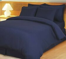 1200 TC 100%Egyptian Cotton Complete Bedding Items US-Sizes Navy Blue Striped