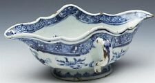 ANTIQUE CHINESE QIANLONG DOUBLE ENDED TWIN HANDLED SAUCE BOAT 18TH C