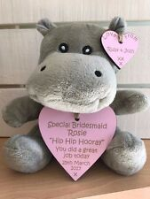 Personalised Wedding Gift Favour Thank You Hippo Bridesmaid Page Boy Flower Girl