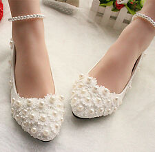 Women White lace pearls ankle Bridal flats low high Bridesmaids Wedding shoes